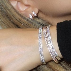 2020 New fashion Christmas gift paved tiny zirconia CZ sparking bling luxury high quality women delicate earring bangle set