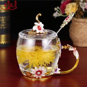 Anti chaleur créative Scalding Thé Verre Cristal Coupe résistant cadeau eau exquise fleur émail Fsile kSGbR bwkf