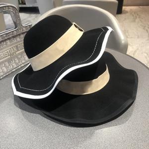 Женская мода ведро шляпы ковбойской шляпе Широкий Брим Шляпы Bucket Hat женщин Большой Floppy Складной Широкий Брим Кап овец шерсть шляпа