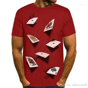 Tees 3D Poker Designer Mens T-shirts Summer Fashion Elegante Casual Top Manga Curta