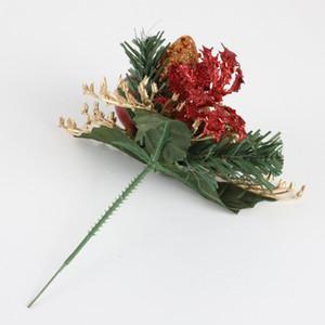Pine Artificial Hastes floresce o ornamento de Natal Falso Pine Cone Gift Box Flor Arranjos grinalda Home Decor Inverno