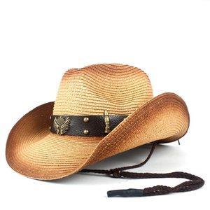 Women Men Straw Western Cowboy Hats With Roll Up Brim Lady Gentleman Summer Beach Cowgirl Sombrero Hombre Sun Cap