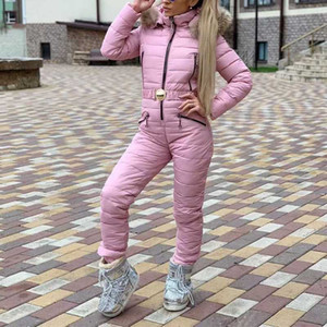 European and American women's one-piece trousers plus cotton hooded large fur collar Siamese cotton suit ski suit ladies Siamese