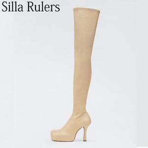 Over-the-ginocchio di Square New stile punta spessa Sole Stivali Donna sexy Tacchi alti lunga Stivali Donne elastico a metà coscia donna 2020
