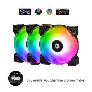 3pcs ARGB 5V Motherboard Sync PWM PC Case Dual Ball Bearing Cooling Fan Cooler 2000 RPM speed 120X120X25mm