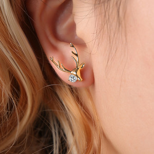 European and American new style simple copper inlaid zircon small elk earrings boutique antler earrings Christmas gifts