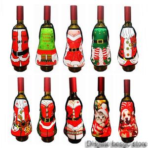 Weihnachten Weinflasche Schürze Weihnachtsmann Weinflasche Dekor Wrapper Cover gedruckt Hausbar Weihnachtsdeko Flaschen Schürze BH0199 TQQ