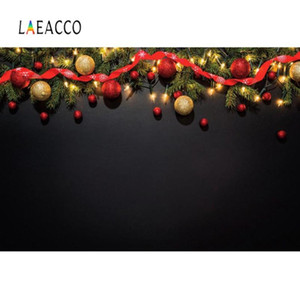 Laeacco Dark Black Wand Weihnachten Feste-Ball-Kranz-Party Pine Baby-Porträt Foto Background Fotografie-Hintergrund Photo