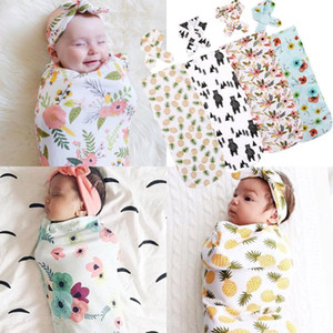 Newborn Infant Baby Swaddle Blanket Sleeping Swaddle Muslin Wrap Headband Set Costume For Girls Boys Baby Infantil Wrap Clothes