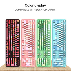 HOT Wireless Bluetooth Keyboard Mouse Kit Cute Steampunk 2.4G Wireless Mouse 104pcs Mixed Color Round Retro Colorful Keyboard
