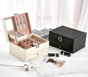 Multi-função Juelee caixa de armazenamento de couro da jóia Organizador Multi-camada de jóias de exibição Joyeros Organizador De Joyas11