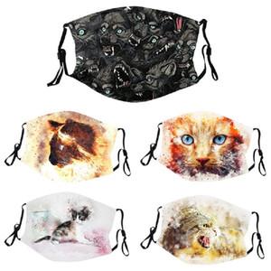 DHL geben Verschiffenentwerfer Persönlichkeit Katze Wolf Muster Art und Weise digitale Druckmaske Baumwolle erwachsener waschbar Stecker PM2.5 Filter staub- reus
