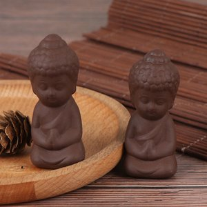 2.3x2.3x6.1cm Mini Ceramic статуя Будды Фигурка индус фэншуй Скульптура Медитация Миниатюрный Zen Garden Home Decor