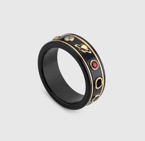 Vente chaude Nouveau Couple Cham Couple Ring Fashion Simple Lettre Anneau Qualité Matériau Céramique Bague Fashion Bijoux