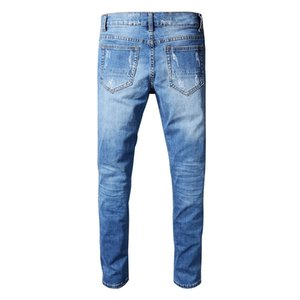 Sokotoo Men's blue pleated patchwork hole ripped biker jeans for motorcycle Casual slim skinny distressed stretch denim pants MX200814