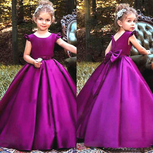 Cute Purple Kids Formal Wear Girls Pageant Simple Children Party Gowns Ruched Satin New Custom Bow Flower Girls Dresses
