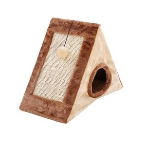 Small Soft Playhouse Triangle Durable Pet Supplies Cosy With Scratching Board Toy Tent Cat Cave Foldable Hanging Ball Bed