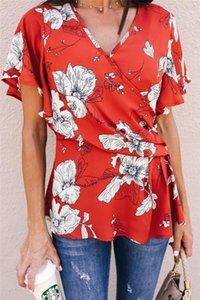 Clothing Floral Print Womens Designer Short Sleeve Tshirts Fashion Loose Irregular Panelled Womens Tees Casual Females