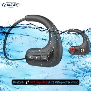 AIKSWE لاسلكية سماعات بلوتوث 8GB IPX8 MP3 مقاوم للماء الغوص مشغل موسيقى سباحة الرياضة سماعة لهواوي