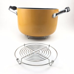 Hot Stainless Steel Cooking Pot Trivet Mats Steamer With 4 Legs Multifunction Kitchen Pan Stand Holder Pizza Cake Cooling