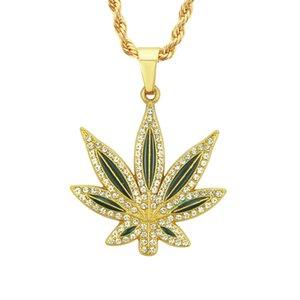 2020 designer pendants hip hop jewelry necklace oil painting diamond big maple leaf pendant necklace men's European and American accessories