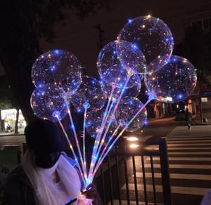 LED lumineux ballon transparent coloré clignotant Ballons d'éclairage avec 70cm Pole Wedding Party Décorations de vacances offre