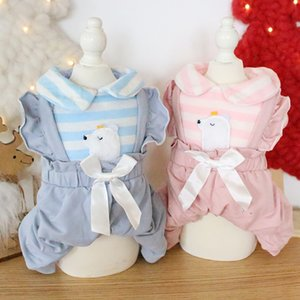Dog Apparel Striped Jumpsuits For Dogs Autumn And Winter Little White Strap Four-legged Pet Thicken Overall Roupas Para Jumpsuit