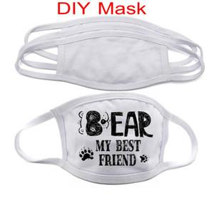 DHL navio Blanks sublimação máscara facial Adultos Crianças com filtro de bolso pode colocar PM2.5 Junta de prevenção de poeira Para DIY Transferência de Impressão FY9202