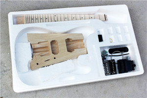 Factory electric Headless semi-finished guitar kits,DIY guitar,No Paint,Ash Body,Maple Scalloped Neck,Black Hardware,can be changed