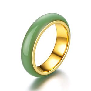 Nouveau style rétro anneau en acier inoxydable de style européen et américain anneau de titane incrusté d'or des hommes en acier de titane bague de jade mosaïque boît