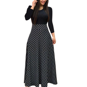Autumn Women's Dress Korean Style Fashion O-neck Ladies Long Dress Casual Full Sleeve Dress