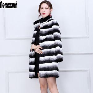 Nerazzurri hiver chinchilla Manteau de fourrure Femmes Mode piste manches longues Luxe Épaissir Plus Size veste en fausse fourrure 5XL 6XL 200921