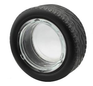 도구 크리 에이 티브 유리 애쉬 트레이 액세서리 LSK1293 흡연 유리 타이어 재떨이 고무 유리 재떨이 실린더 비산 시가 라운드