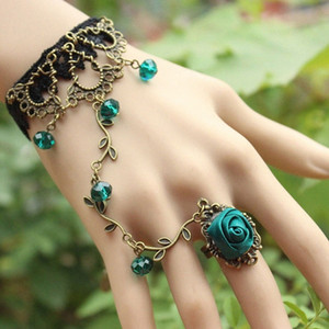 Women Hand Chain Ring Retro Rose Flower Stone Lace Bracelet Statement Party Charm Bangle Jewelry Gift XRQ88 HtyG#