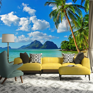 3D sur mesure Peinture murale Papier peint Chambre non-tissé Livig Salle TV Canapé Backdrop mur papier Ocean Sea Beach 3D Photo Wallpaper Home Decor