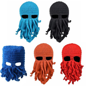 Men Women Creative Funny Tentacle Octopus Knitted Hat Long Beard Beanie Cap Balaclava Winter Warm Halloween Costume Cosplay Mask