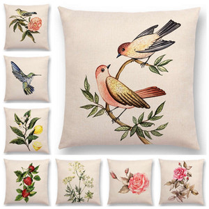 Прекрасные Птицы Цветы Растения Диван Наволочка Hummingbird Роза Малина укроп гвоздика Миндаль Подушка Обложка