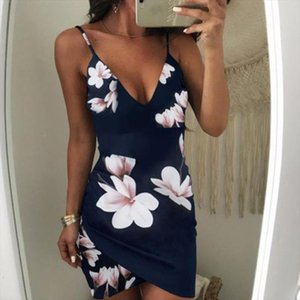 Womens Sexy Sleeveless Dress Floral Strappy V Neck Vestido Bodycon Evening Party Clubwear Short Mini Dress Fashion designer clothes