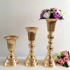Metal Flower Vase Pillar Flowers Pot Stand Wedding Table Centerpiece Event Road Lead For Christmas Party Home Decoration