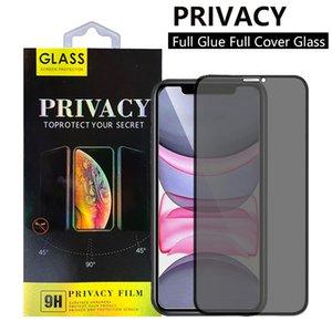 Protector anti-asomando la cubierta completa completa Pegamento de cristal templado de la pantalla del teléfono protector para el iPhone 12 11 Pro XR XS max 7 8 Plus con el packag al por menor