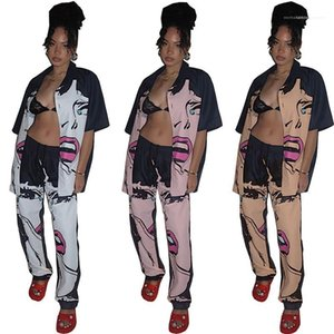Neck Single Breasted Pants Suits Womens Clothing 2 Piece Set Summer Ladies Designer Shirt Suits Girl Pattern Printed Lapel