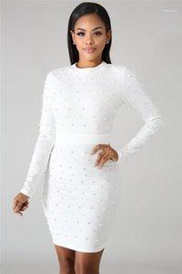 Solid Designer Bead Bodycon vestiti scarni Bead Nail Color manica lunga vestiti dalle signore delle donne sexy Summer Dress Bubble