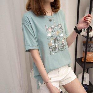 Ijkyk 2020 verano nueva manga corta T- tocado tocado de la camiseta del estilo de Corea carta cuello camisa de base redonda parte superior de las mujeres ocasionales