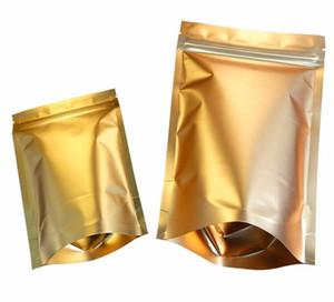 Golden Stand up Zip Bag Dried Food Fruit Tea Packaging Pouches Aluminum Foil Zipper Self Sealing Party Gift Bag