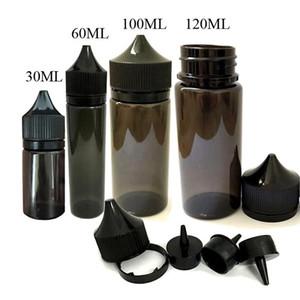 Fast Shipping PET PE Gorilla Bottles 15ml 30ml 50ml 60ml 100ml 120ml Unicorn Plastic Dropper Black Bottles with Tamper Proof Childproof