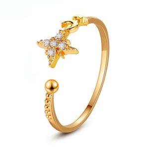 Moon Star кольцо Модного Минимализм Простого Кристалл Rhinestone открытого Регулируемый способ шарма Ленточные кольца для женщин девочек
