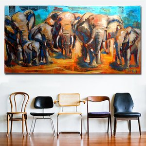 Animal Art African Elephant Family Big Canvas Paintings Wall Art Prints Printing Posters Picture For Living Room Home Decor