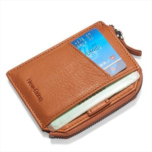 NewBring 2019 Leather Zipper Wallet Male Minimalism Money Purse Slim Card Holder Short Male Clutch Mens Wallets Coin Purse