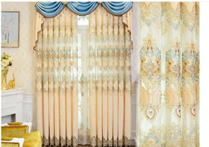 2020 hot sale European luxury living room bedroom embroidered curtain atmosphere embroidered curtain cloth wholesale villa shading finished