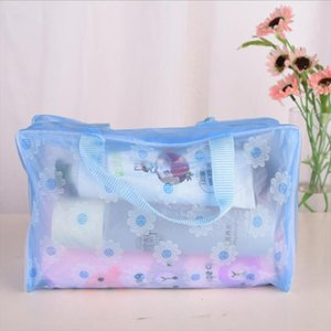 Portable Waterproof Cosmetic Bag Transparent Makeup Bag Zipper Handbag Organizer Women Travel Toiletry Bag Bath Beauty